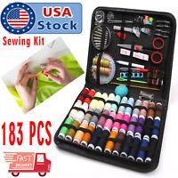 183Pc Sewing Kit Measure Scissor Thimble Thread Needle Storage Box Travel Set