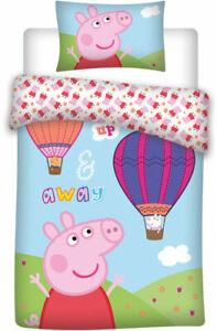 """PEPPA PIG """" UP & AWAY """"Junior Cot Bed Set Toddler  Duvet 100% COTTON SET IN UK !"""