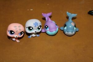 Littlest Pet Shop Lot of 2 Seals & 2 Dolphins Authentic FREE SHIPPING Lot # 8