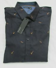 MEN'S MARKS AND SPENCER AUTOGRAPH NAVY MUSICAL INSTRUMENT LUXURY SHIRT SIZE XL