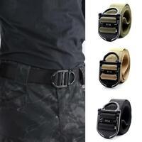 Men Tactical Belt Adjustable Heavy Duty Waist Belt Metal Buckle Nylon Outdoor