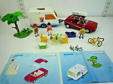VINTAGE PLAYMOBIL 3236 & 3267 CARAVAN & CAR WITH ACCESSORIES & FIGURES COMPLETE