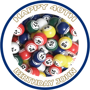 Personalised Bingo Balls Cake Topper on Edible Icing Sheet 7.5 Inches SET 1