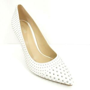 Michael Kors Claire Studded White Leather Dress Pump Women's 6