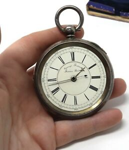 Antique Victorian C1889 Sterling Silver Chronograph Key Wind Pocket Watch Boxed