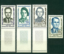 France 1958, heroes of the French in World War II, Sc# 879-882, Marginal MNH 965