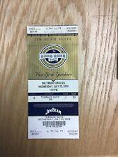 2009 New York Yankees v Baltimore Orioles Jim Beam Suite Ticket Row 1 Seat 10