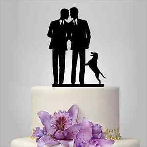 Personalized Mr and Mr Gay Same Sex Wedding Cake Topper Couple With Dog Cat Gift