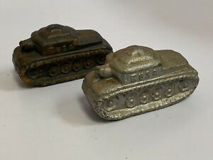 Lot of 2 Vintage USA Made Military Army Tank Hard Rubber Toy