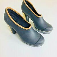 Sorel Womens Medina Black Rubber Rain Shoes Heels Sz 7