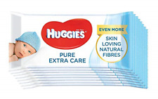 8x Huggies Pure Extra Care Delicate Soft BULK Baby Wet Wipes (448 Wipe Total)