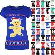 Ladies Xmas Top Womens Reindeer Snowflake Christmas Short Sleeve Jersey T Shirt