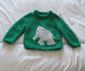 Hand Knitted Jumper with Elephant pattern age 4 - 6 years Brand New