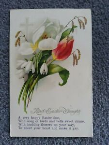 1927 Easter Postcard, Flowers, Cross and Verse.