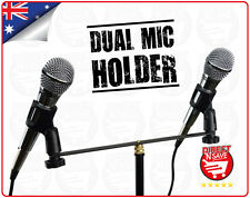Microphone Dual Holder Arm Double Mic Clip Stereo Mount Bracket Duet Black M-21