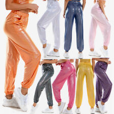 New Women's PVC Leather Sports Joggers Long Pants Trousers Party Dance Clubwear