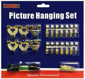47pc Picture Hanging Kit Mirror Photo Frame Hooks Brass Nail Level Wire Set Wall