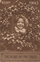 Vintage Postcard Christmas Girl with Wreath Photo Heart of the Holly