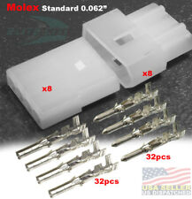 """4 Pin Molex Connector lot, w/18-24 AWG .062"""" Free Hanging Plug (8 Completed Set)"""