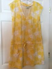 Women's Junior's ROXY Yellow Flower Beach Pool Cover Up Dress, Large