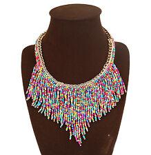 Bead Tassel Statement Necklace Multi Colour Tribal Bohemian Hippie Collar Choker
