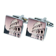 & Gift Pouch Italy Travel Present Silver Cufflinks With The Coliseum Picture