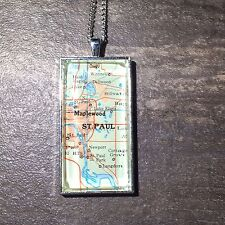 "MAPLEWOOD ST PAUL MINNESOTA USA Map Pendant Silver necklace vntg ATLAS 2""x1"" F04"