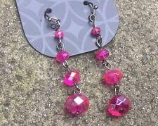 Pink Beaded Drop Earrings Hippy Boho Christmas Gift Stocking Filler J458
