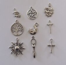 SET OF 9 TIBETAN SILVER WICCA/ PAGAN  CHARMS FOR CRAFT WORK & JEWELLERY MAKING