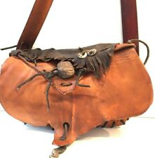 """""""Revenant"""" Style Leather Mountain Man Bag Hand Hammered Copper Pendant, Antler"""