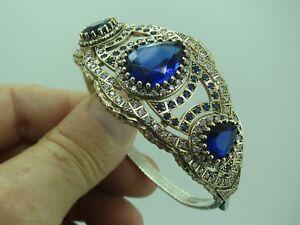 Turkish Handmade Jewelry 925 Sterling Silver Sapphire Stone Women Bangle