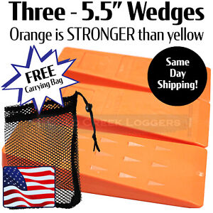 """3 - 5.5 """" USA HARD logging Felling Bucking Tree Forestry Falling Spiked Wedges"""