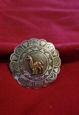 w/18K Llama, scalloped edges Peruvian Sterling Silver Pin/Pendant