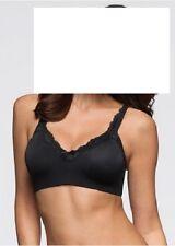 T-Shirt BH schwarz 90 F ohne Bügel mit Spitze blickdicht nahtlos