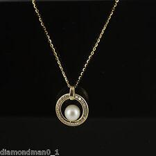 Collar De Oro Amarillo 9ct y centro del círculo colgante con una perla
