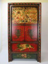 A  Tibetan Colorful Floral/ Scorpion Pattern Elm Wood Buddha Cabinet