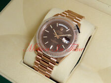 Rolex Day-Date 40mm President 18k Rose Gold Chocolate Diagonal Motif Dial 228235