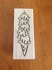 DeNami Designs - Ice Cream Cone -Wood Mounted Rubber Stamp