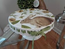 """GRACE'S TEAWARE BROWN BUNNY YELLOW FLOWER BUTTERFLY CAKE STAND 10"""" RIBBON NEW"""