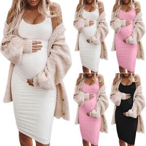 Pregnant Women Sexy Plain Bodycon Sundress Maternity Casual Tank Vest Midi Dress