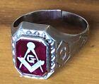 Mens Antique 10K White Gold Masonic Ring Red Stone G Stone, Size 8, Estate Find