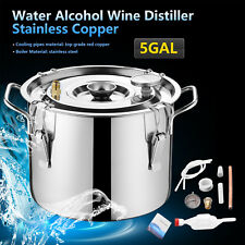 5Gallon 20L Wine Alcohol Water Distiller Moonshine Still Boiler Stainless Copper