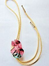 Floral Braided Ivory Leather Bolo Tie with Resin Slider - Vintage
