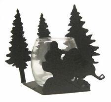 Snowmobile black metal votive candle holder