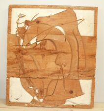 Vintage abstract hand carving wood wall hanging plaque