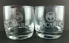 2 Bacardi Rum Etched Bat in a Circle 10 oz Rock Glasses Clear Weighted Bottom