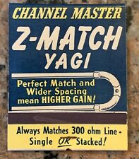 """Yagi Channel Master Corporation Giant Feature Match-Cover 3.25"""" x 4.25"""""""