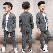 2pcs Boys Gentleman Formal Suits Striped Fashion Blazer Pant Kids Wedding