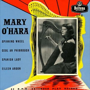 MARY O'HARA 1962 Beltona IEP 41 (England) Singing To Her Own Harp Accompaniment