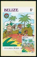 MayfairStamps Belize 1985 Christmas It's a Small World Disney Holiday Post Card